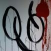 2-luik in hoogglans lak op linnen, 200x50cm, rustige modern painting