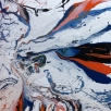Beautifull 2-piece in gloss paint on linen with a lot of expression, 200x100cm