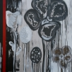 Acrylic on linen set in black, white and a bright red stripe, 120x80cm