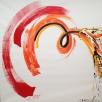 Acryl op linnen, 200 x 200 cm, slow & fast energy in kleur